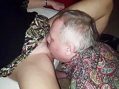 Cuckold eats creampie and cleans Bull friend Brett