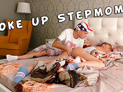 Stepmom woke up from the stepson's big dick. Family therapy